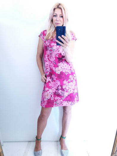 Helga May Kennedy Dress (SMALL) : Black Lace - Hot Pink