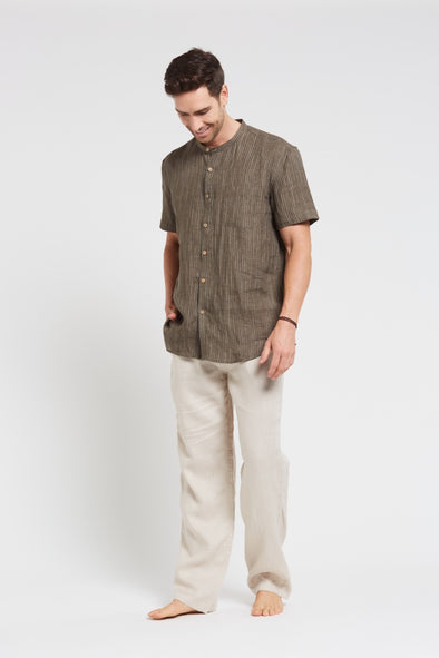 Brain Tree Hemp Grandpa Short Sleeve Shirt - Line Khaki