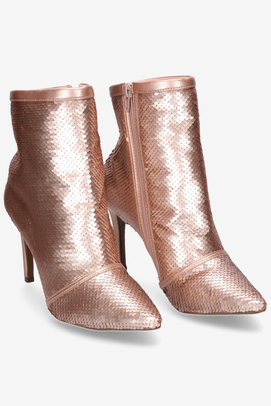 Hey Monday Olivia Rosegold Sequin/Silver Bootie