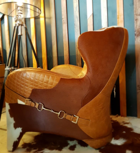 Leather & Hide Saddle Chair