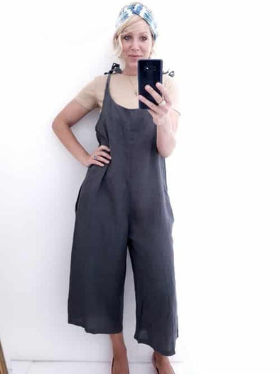 Helga May Linen Jumpsuit: Plain - Charcoal