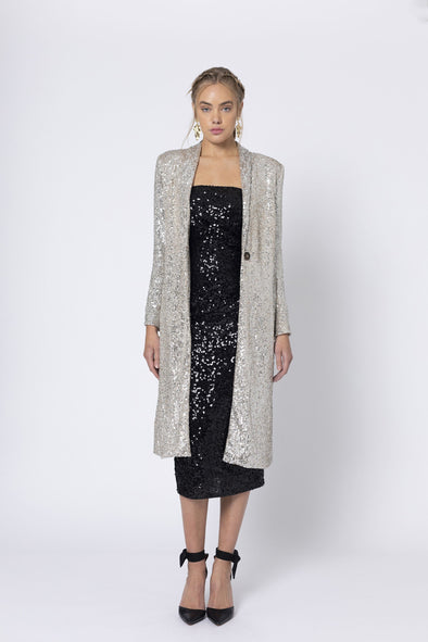 Marquise Long Champagne Sequin Jacket