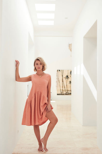 Pippa Peplum Linen Dress