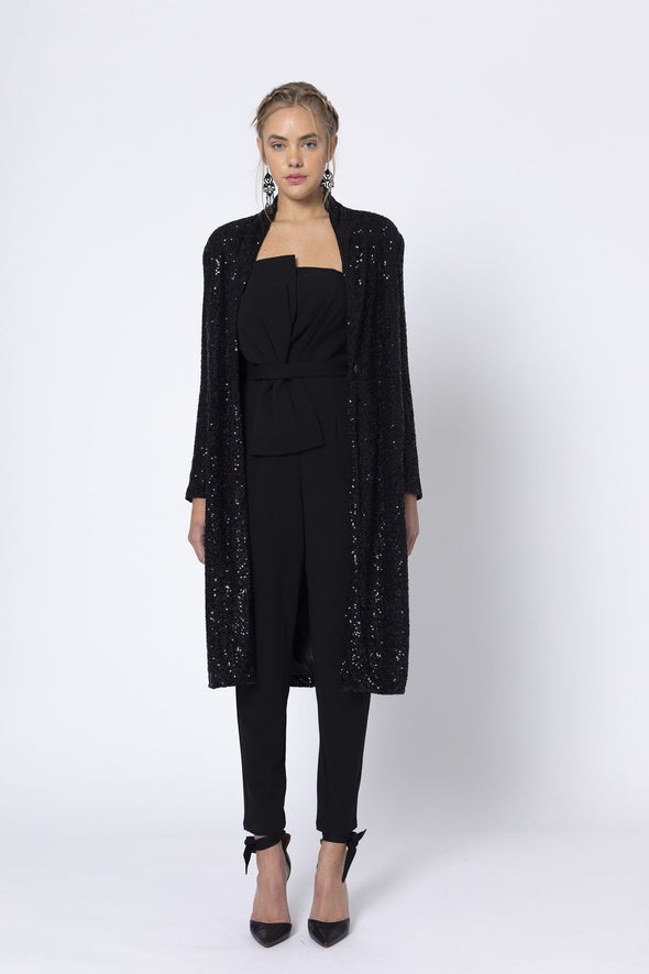 Marquise Long Black Sequin Jacket