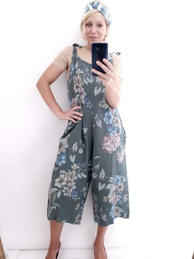 Helga May Linen Jumpsuit: Rolling Meadow - Faded Forest