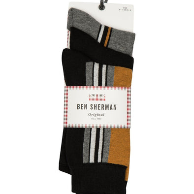Ben Sherman 3 Pack Socks - Grundy Gold