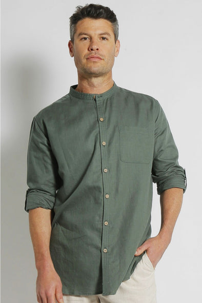 Hemp Grandpa Long Sleeve Shirt - Green