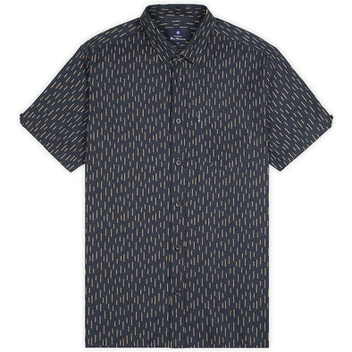 Ben Sherman Linen Striped Short Sleeve  Shirt - Dark Navy