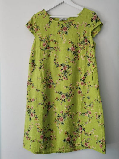Helga May Kennedy Dress (SMALL) : Mini Bouquet - Neon Green