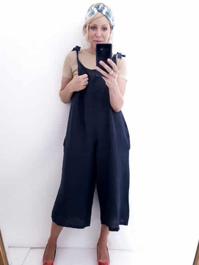 Helga May Linen Jumpsuit: Plain - Navy