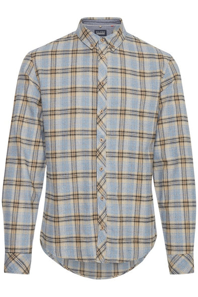 Blend Navy & Tan Check Long Sleeve Shirt