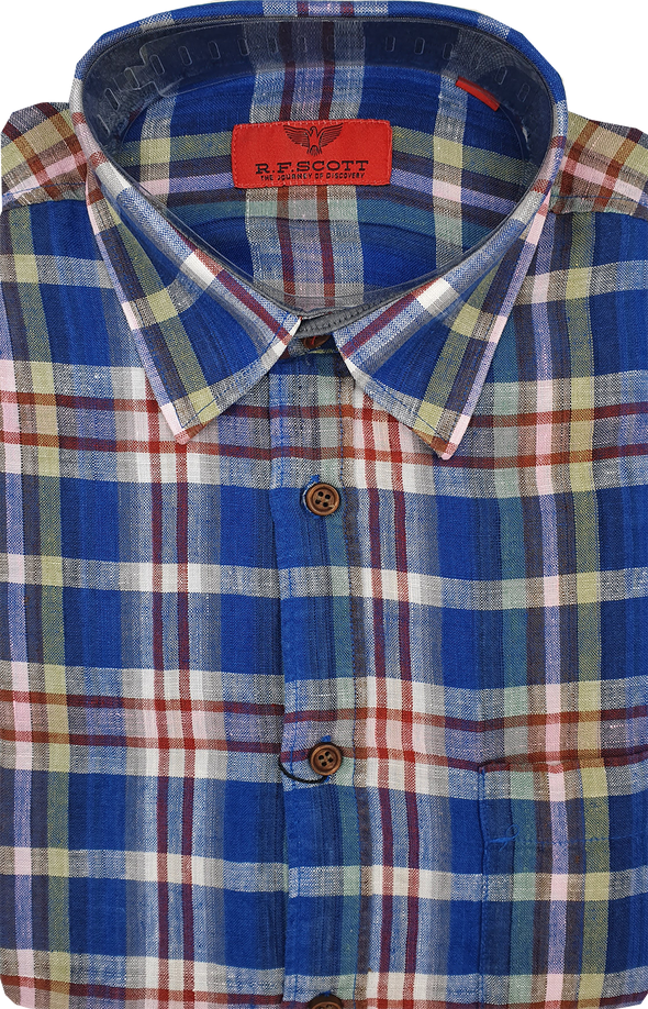 R.F. Scott Fields Short Sleeve Linen Shirt - Thistle Check