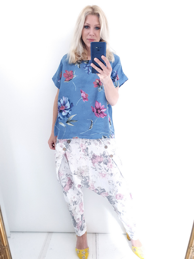 Helga May Box Tee: Falling Flower - Petrol