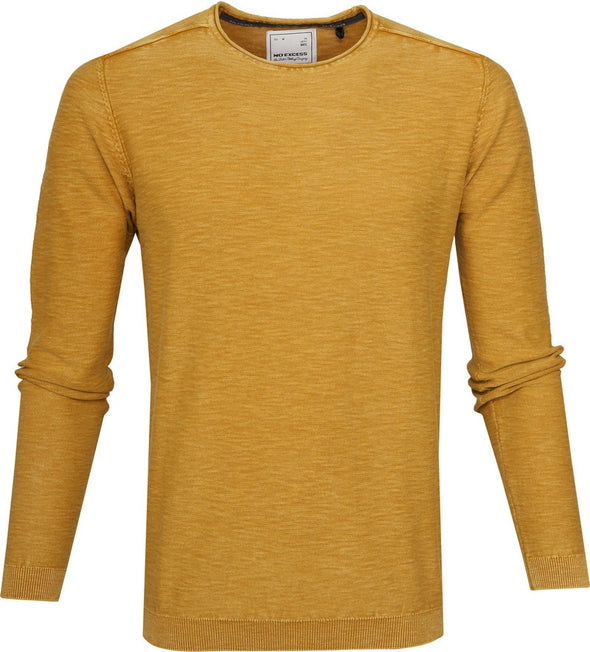 No Excess Sweatshirt Crew Neck 100% Knitted Cotton - Ocre