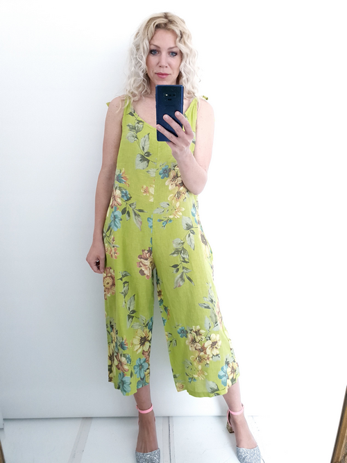 Helga May Linen Jumpsuit: Rolling Meadow - NeonLime