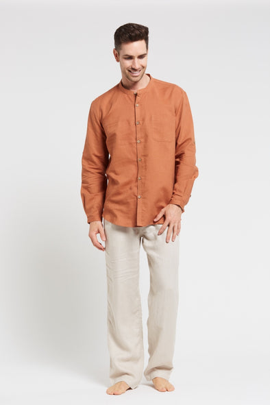 Hemp Grandpa Long Sleeve Shirt - Rosewood