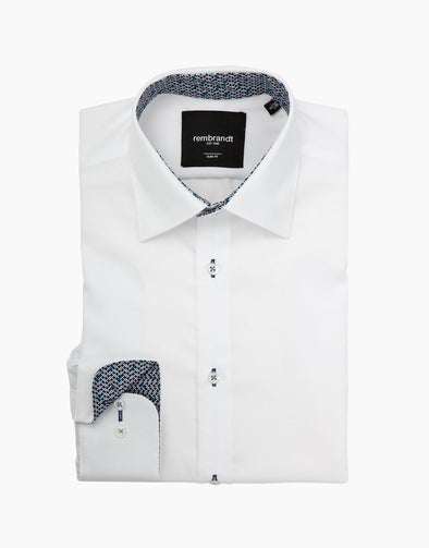 Barbican Long Sleeve Shirt - White & Dash Detail Cuff