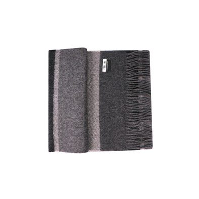 100% Lambs Wool Scarf - Charcoal Textured Stripe