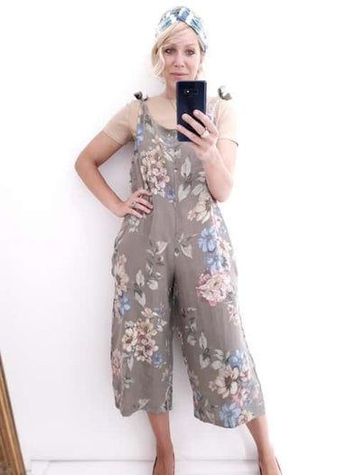 Helga May Linen Jumpsuit: Rolling Meadow - Mocha
