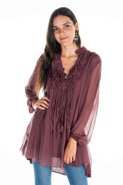 The Italian Closet Ulisse Romantic Silk Tunic