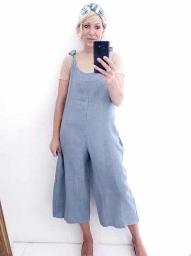 Helga May Linen Jumpsuit: Plain - Pale Petrol