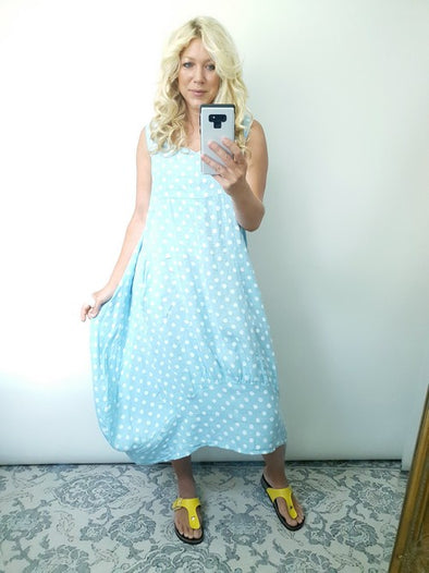 Helga May Maxi Dress Polka Dot Baby Blue