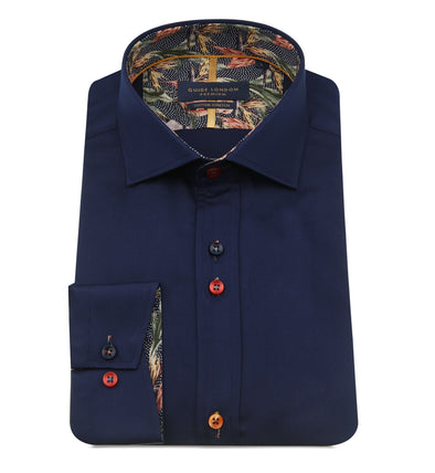 Guide London Long Sleeve Shirt - Navy & Flamingo Detailing