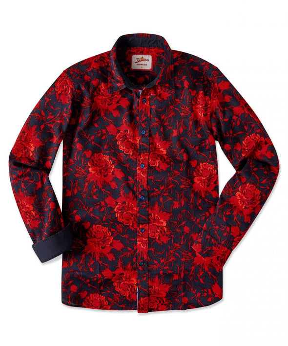 Red Floral Explosion Long Sleeve Shirt