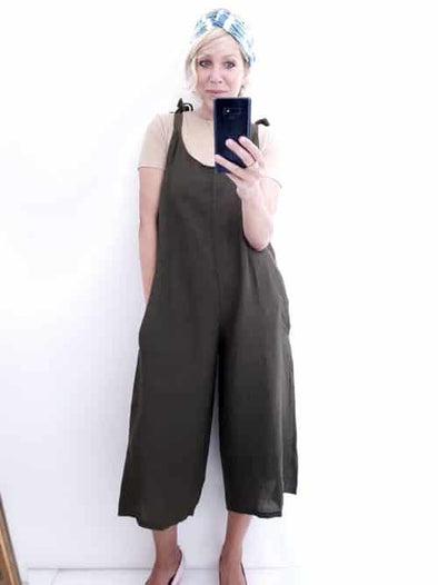 Helga May Linen Jumpsuit: Plain - Forest