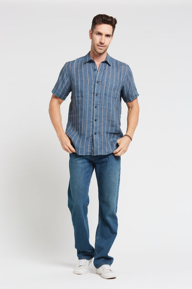 Braintree Hemp Short Sleeve Shirt - Striped Blue