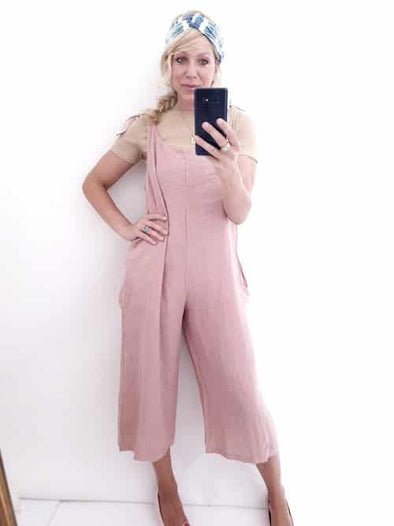 Helga May Linen Jumpsuit: Plain - Dusky Pink