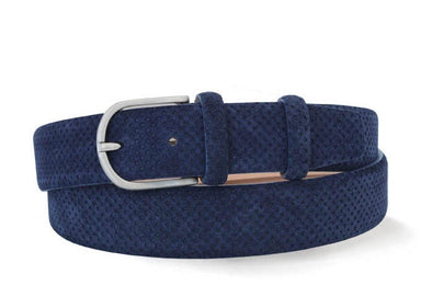 Navy Perforated Italian Suede Leather Belt