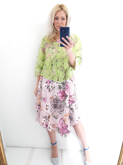 Helga May Amadeus Lace & Linen Jacket: Scarlett Rose - Neon Lime