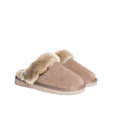 Juliet Sheepskin & Suede Slide Ladies Slipper - Stone
