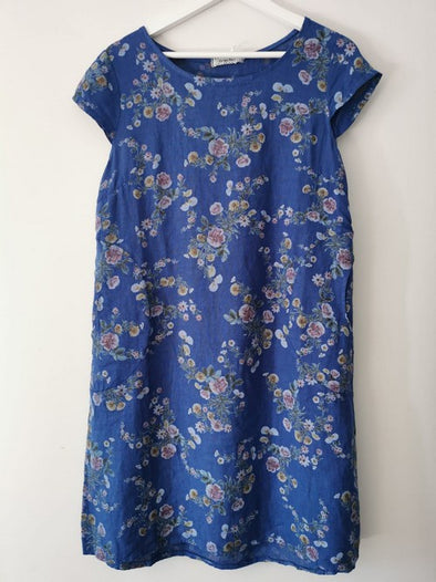 Helga May Kennedy Dress (SMALL) : Mini Bouquet -  Royal Blue