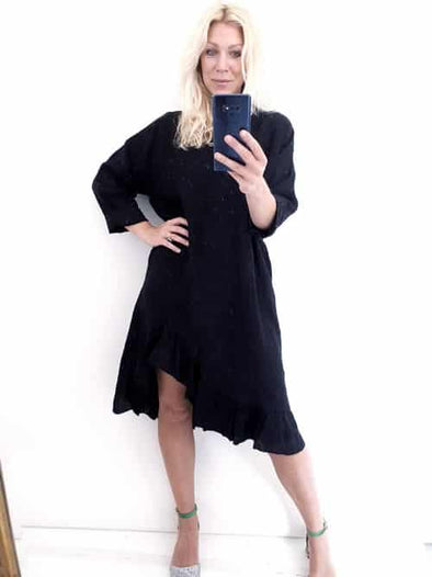 Helga May Samba Dress: Plain - Black