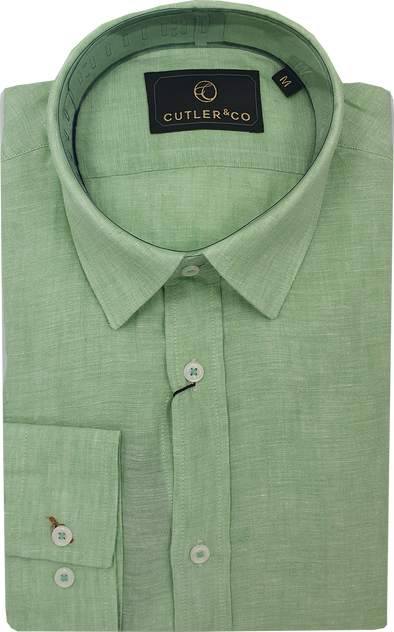 Cutler & Co Blake Linen Long Sleeve Shirt - Wasabi