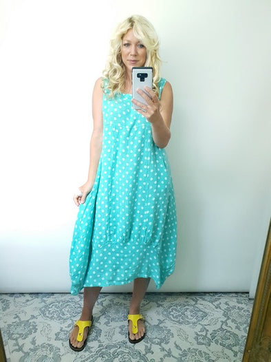 Helga May Maxi Dress Polka Dot Dark Mint