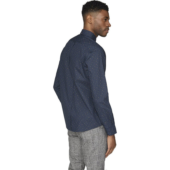 Ben Sherman Midnight Scattered Poplin Long Sleeve Shirt