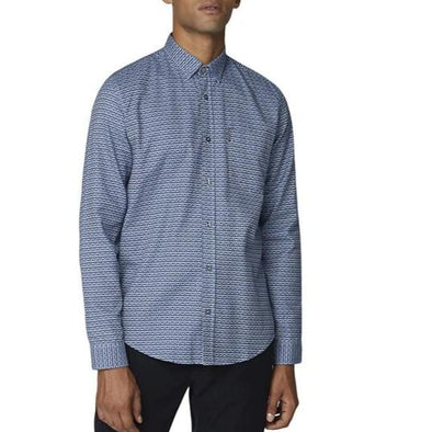 Ben Sherman Dark Blue Oxford Retro Print Long Sleeve Shirt