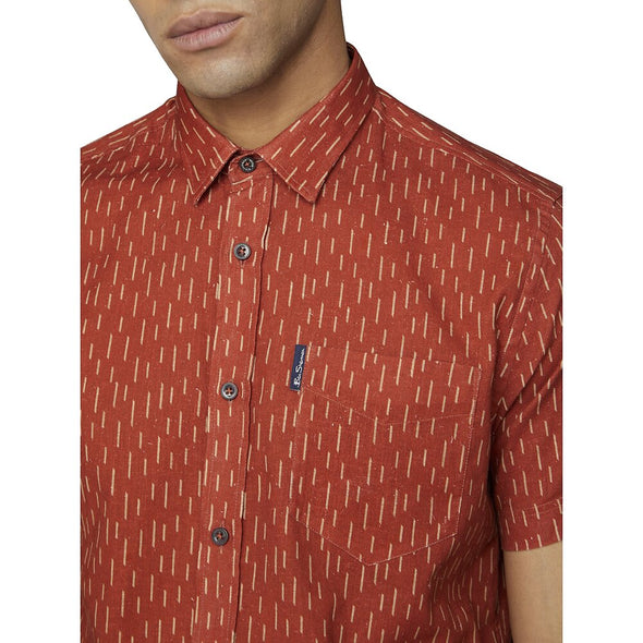 Ben Sherman Linen Striped Short Sleeve Shirt - Terracotta