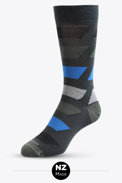 Merino Unisex Pattern Dress Sock - Bolted Colour