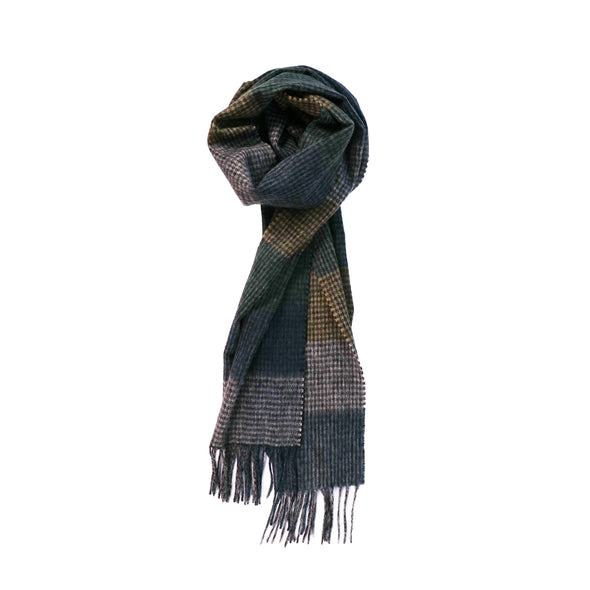 100% Lambs Wool Scarf - Burgundy Camel Check