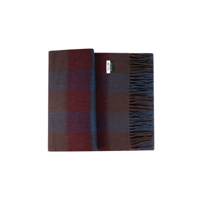 100% Lambs Wool Scarf - Reversible Chocolate Denim Check