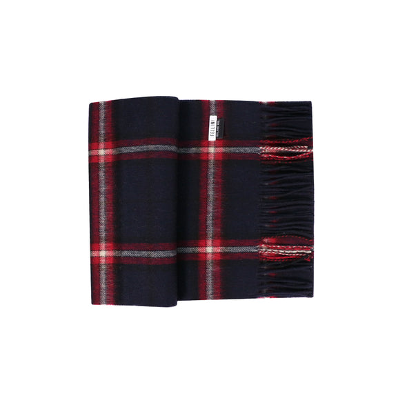 100% Lambs Wool Scarf - Midnight Red Check