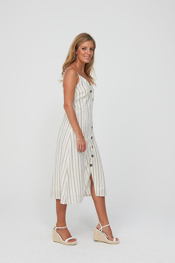 Kaja Goldie Dress - Gold Stripe