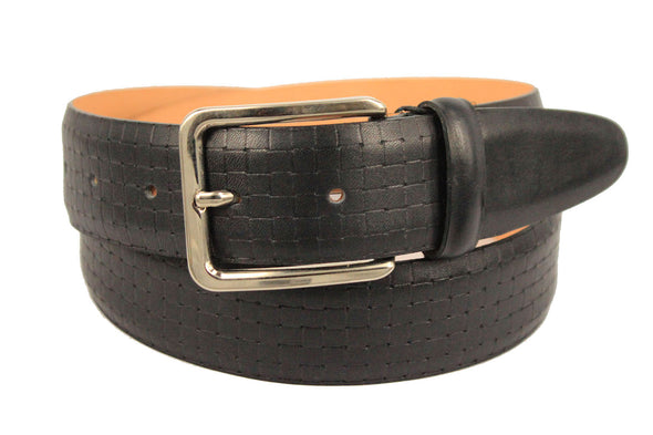 Deep Navy Embossed Lather Belt