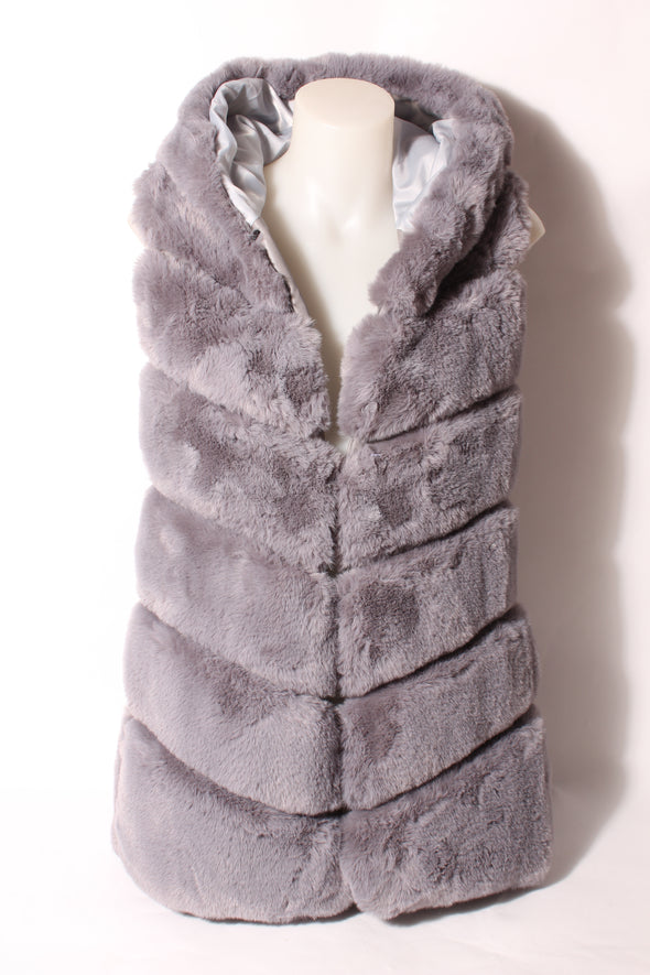 Women's Hooded Fur Vest