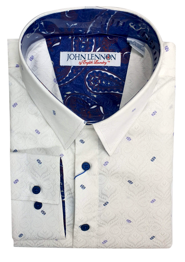 John Lennon Textured White & Blue Print Long Sleeve Shirt