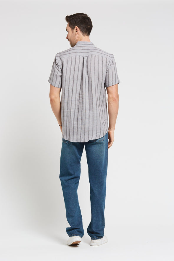 Braintree Hemp Short Sleeve Shirt - Striped Grey